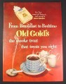 Magazine Ad for From Breakfast to Bedtime Old Gold's The Smoke Treat, Cigarettes, 1949