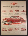 Magazine Ad for Chevrolet Fleetline DeLuxe 4-Door Sedan Car, Extra Values, 1949, 10 1/2 by 13 7/8