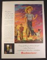 Magazine Ad for Budweiser Beer, Barefoot Boy With Cane Pole & Large Fish, 1946, 10 1/2 by 13 7/8