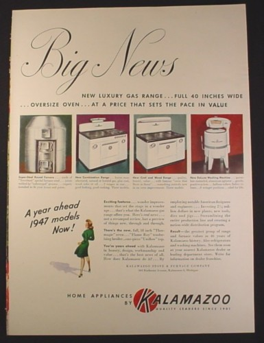 Magazine Ad for Kalamazoo Home Appliances, Round Furnace, Coal Range, 1946, 10 1/2 by 13 7/8