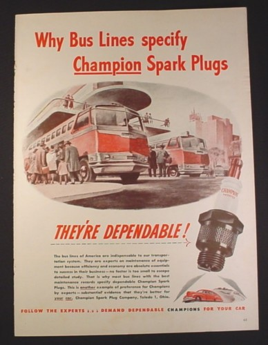 Magazine Ad for Champion Spark Plugs, Bus Lines Illustration, 1946, 10 1/2 by 13 7/8