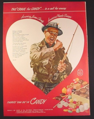 Magazine Ad for Council of Candy, There's Can Do In Candy, Fly Fisherman, 1946, 10 1/2 by 13 7/8