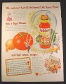 Magazine Ad for Snider's Chili Sauce, Grandma Snider, Bottle Under Dome, 1946, 10 1/2 by 13 7/8