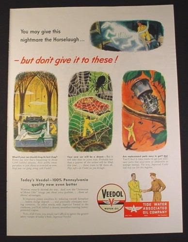 Magazine Ad for Veedol Motor Oil, Nightmares, Tide Water Associated Oil Company, 1946