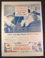Magazine Ad for Mobilgas Mobiloil Oil Can, Man Cursing, Flying Red Horse Sign, 1946