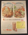 Magazine Ad for Borden's Hemo Milk, Elsie & Elmer Cows, No Energy, 1946, 10 1/2 by 13 7/8