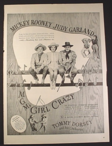 Magazine Ad for Girl Crazy Movie, Mickey Rooney, Judy Garland, MGM, 1943, 10 1/2 by 13 7/8