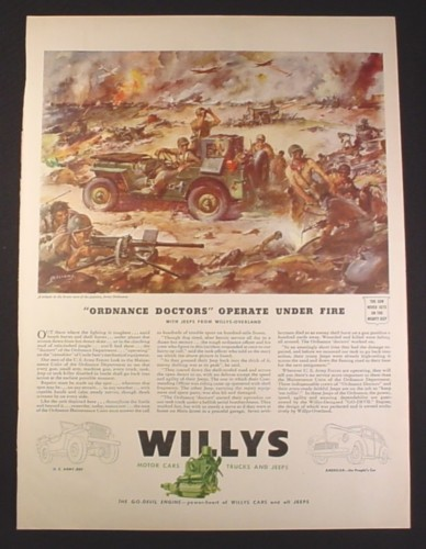Magazine Ad for WWII Era, Willys Cars Trucks Jeeps, Ordnance Doctors, Battle, 1943