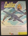 Magazine Ad for WWII Era, Cadillac, P-38 Fighter Shooting Down a Plane, Air Combat, 1943