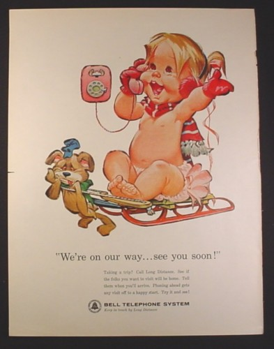 Magazine Ad for Bell Telephone, Cartoon Baby Girl On Sled, We're On The Way, 1964
