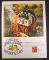 Magazine Ad for 7UP, Seven Up, Carton of 6 King Size Bottles on Picnic Basket, 1966