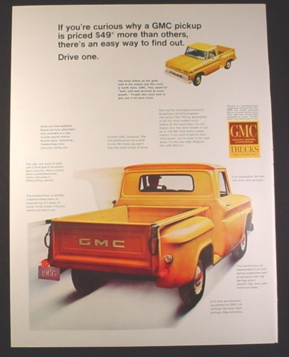 Magazine Ad for GMC Pickup, Front Top View, Rear & Side View, 1966, 10 1/2 by 13 5/8