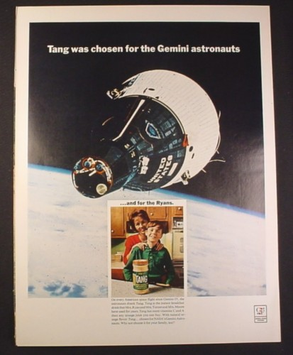 Magazine Ad for Tang Chosen for The Gemini Astronauts, Space Capsule, 1966, 10 1/2 by 13 5/8