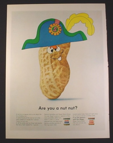 Magazine Ad for Skippy Peanut Butter, Cartoon Peanut in Pirate Hat, 1966, 10 1/2 by 13 5/8