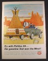 Magazine Ad for Phillips 66 Gas, Cartoon Indians in Jalopy Towing Teepee on Trailer, 1966
