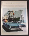 Magazine Ad for Pontiac Bonneville Car, Front & Side View In Front Of Ship 1966 10 1/2 by 13 5/8