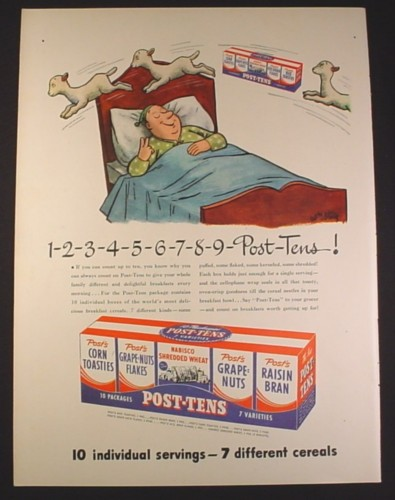 Magazine Ad for Post-Tens Variety Pack of Cereal, In Bed Counting Sheep & Cereal, 1946