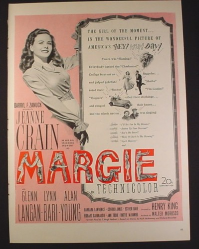 Magazine Ad for Margie Movie, Jeanne Crain, Technicolor, 20th Century Fox, 1946, 10 1/2 by 14