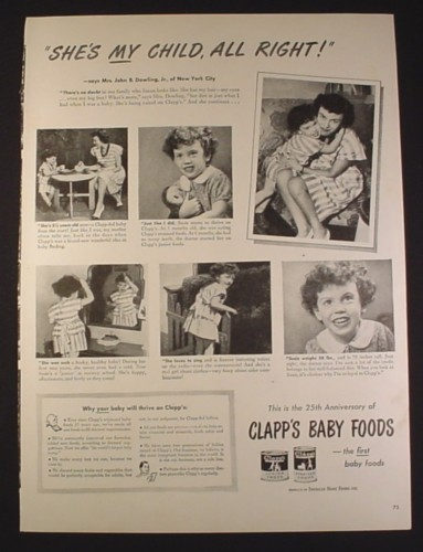 Magazine Ad for Clapp's Baby Foods, She's My Child All Right, 1946, 10 1/2 by 14