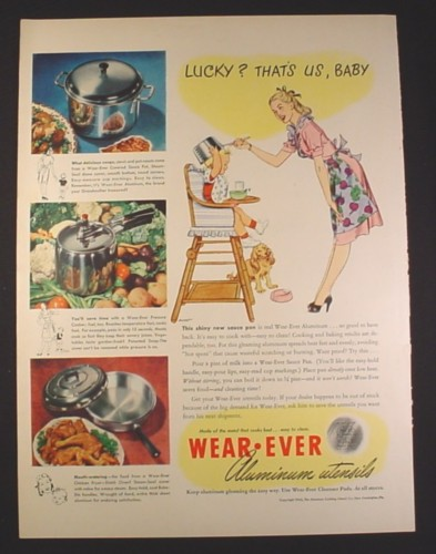 Magazine Ad for Wear-Ever Aluminium Cookware Pots u0026 Pans Baby in High Chair 1946 & Magazine Ad for Wear-Ever Aluminium Cookware Pots u0026 Pans Baby in ...