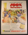 Magazine Ad for Florida Grapefruit Juice, Dad in Pink Apron Pouring From Can, 1946, 10 1/2 by 14