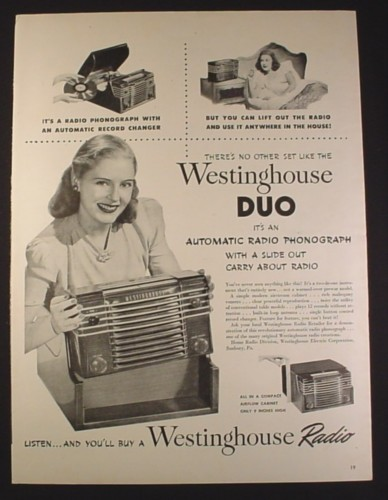 Magazine Ad for Westinghouse Duo Automatic Radio Phonograph, Slide Out Radio, 1946