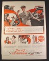 Magazine Ad for MacMillan Oil, Round Sign, Gas Station Attendant, 1946, 10 1/2 by 14