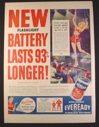 Magazine Ad for Eveready Flashlight Battery, Circus Illustration, 1946, 10 1/2 by 14