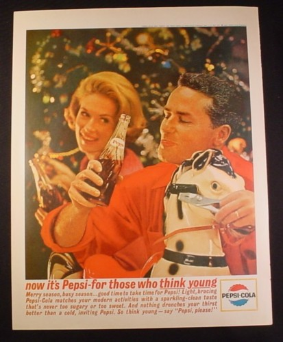 Magazine Ad for Pepsi Pepsi-Cola, Christmas Assembling a Toy Horse, 1963, 10 1/2 by 13 1/2