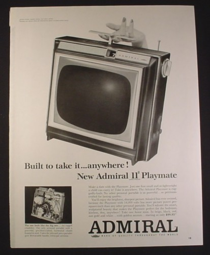 Magazine Ad for Admiral 11 Inch Playmate Portable TV Television, 1963, 10 1/2 by 13 1/2