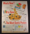 Magazine Ad for Life Cereal, Protein Cartoon Characters, 1962, 10 3/4 by 13 1/2