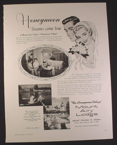 Magazine Ad for Mount Airy Lodge's Honeymoon Village, Travel, 1958, 9 3/4 by 12 7/8