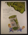 Magazine Ad for Green Giant Sweet Peas, Farmers Carrying a Can, 1966, 10 1/2 by 13 1/4
