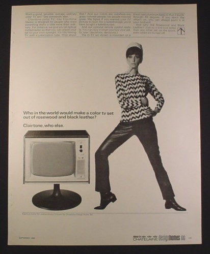 Magazine Ad for Clairtone Color TV, Rosewood & Leather, 1966, 10 1/2 by 13 1/4