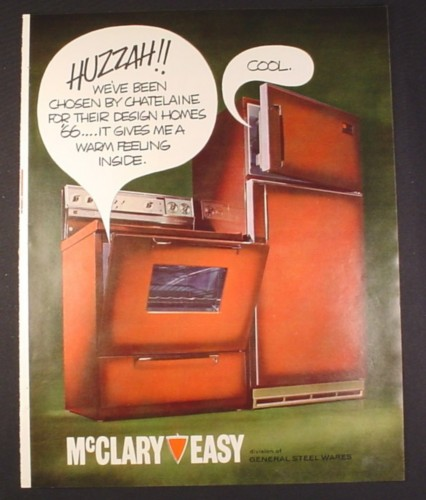 Magazine Ad for McClary Easy Stove & Fridge, 1966, 10 1/2 by 13 1/4