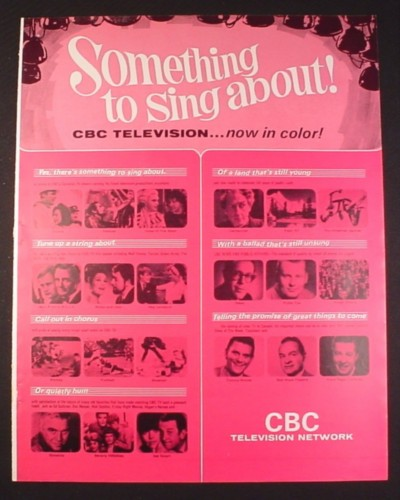 Magazine Ad for Something To Sing About CBC TV Show, Television, 1966, 10 1/2 by 13 1/4
