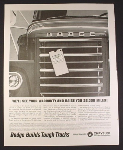 Magazine Ad for Dodge High Tonnage Truck, Front Grill View, 1964, 10 1/2 by 13 3/8