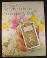 Magazine Ad for Eve Filter Cigarettes, Smoke Pretty, Farewell to Ugly, 1971, 10 1/4 by 13 1/4