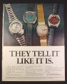 Magazine Ad for Bulova Accutron Watches, 4 Models, 1972, 10 1/4 by 13 1/4