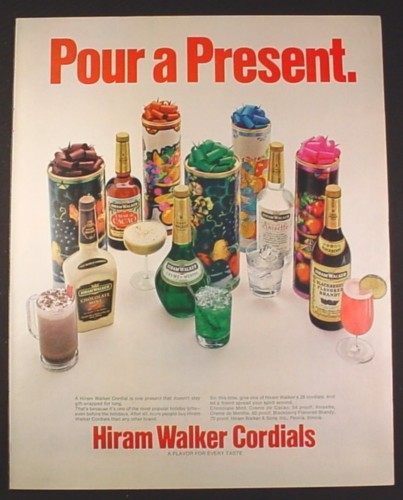 Magazine Ad for Hiram Walker Cordials, Liqueurs, Gift Boxes, 1972, 10 1/4 by 13 1/4
