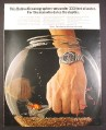Magazine Ad for Bulova Oceanographer Watch, Inside Fish Bowl, 1971, 10 1/4 by 13 1/4