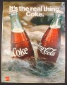 Magazine Ad for Coke Coca-Cola, 2 Bottles in a Stream, 1971, 10 1/4 by 13 1/4
