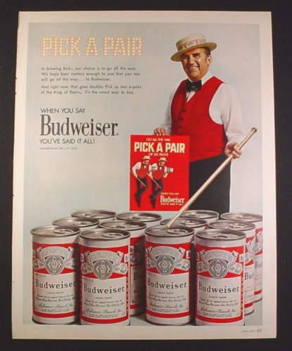 Magazine Ad for Budweiser Beer, Pair of Six Packs Cans, Ed McMahon, Celebrity, 1971