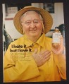 Magazine Ad for Listerine Antiseptic, Man in Rain Hat & Slicker, I Hate it But I Love It, 1971