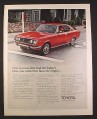 Magazine Ad for Toyota Corona Mark II Red Car, Front & Side Views, 1971, 10 1/4 by 13 1/4