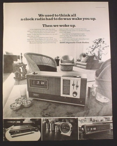 Magazine Ad for Sony Digimatic Clock Radios, 4 Models, 1971, 10 1/4 by 13 1/4