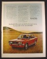 Magazine Ad for Toyota Corona Brown Car, Parked in Field, Front & Side View, 1971