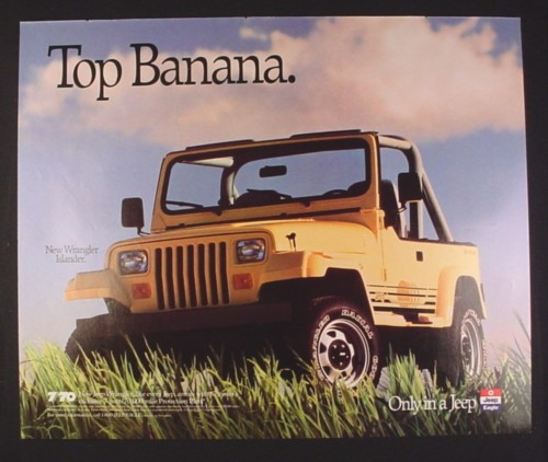 Magazine Ad For Jeep Wrangler Islander Yellow Color Top