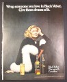 Magazine Ad for Black Velvet Whisky, Beautiful Model, Wrap Someone You Love In Black, 1972