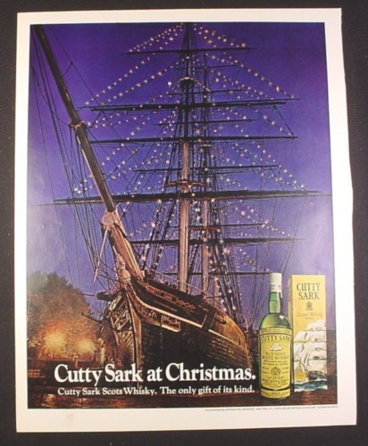 Magazine Ad for Cutty Sark Scots Whisky Sailing Ship with Lights in Rigging 1972 10 1/4 by 13 1/4